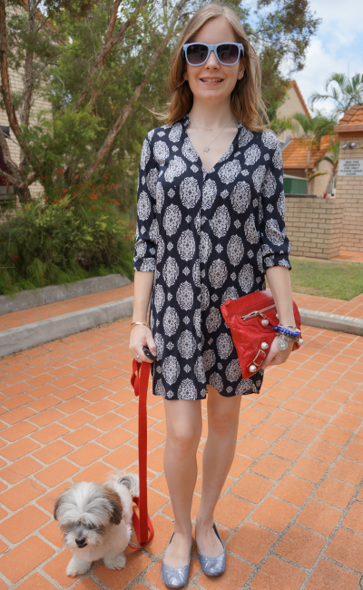 Australian daily outfit blog summer zara printed dress red clutch outfit