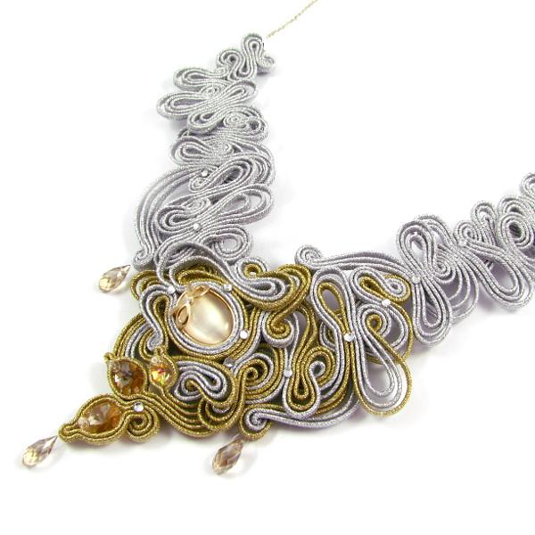 Sutaszowy naszyjnik ślubny złoto srebrny