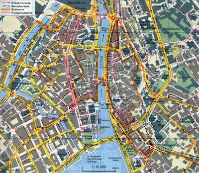 Tourist map of Zurich Switzerland