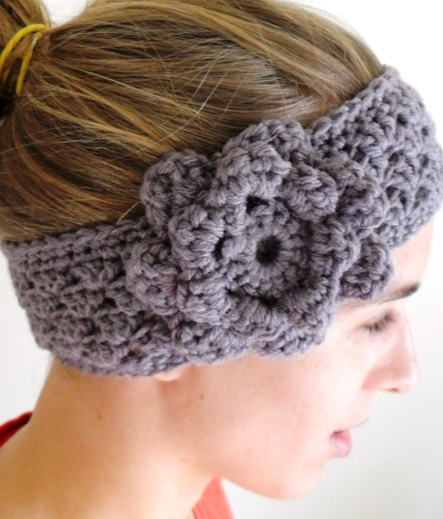 Free Crochet Pattern Headband Ear Warmer Button : Grow Creative Blog: Grey Crochet Earmwarmer