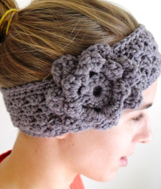 grey crochet earwarmer