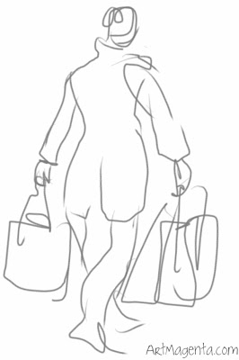 Shopping is a business, gesture drawing by Artmagenta on an iphone.