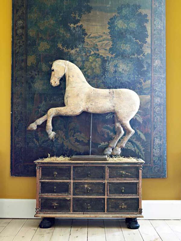 escultura caballo barroco de madera