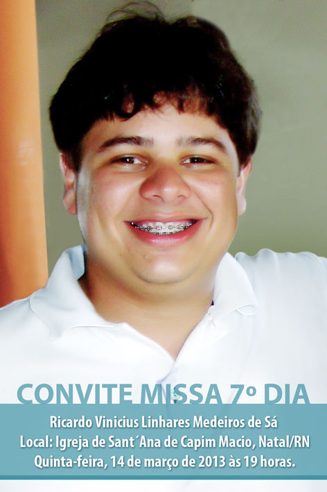Convite Da Missa De 7 Dia De Ricardo Vinicius Ricardo Vinicius