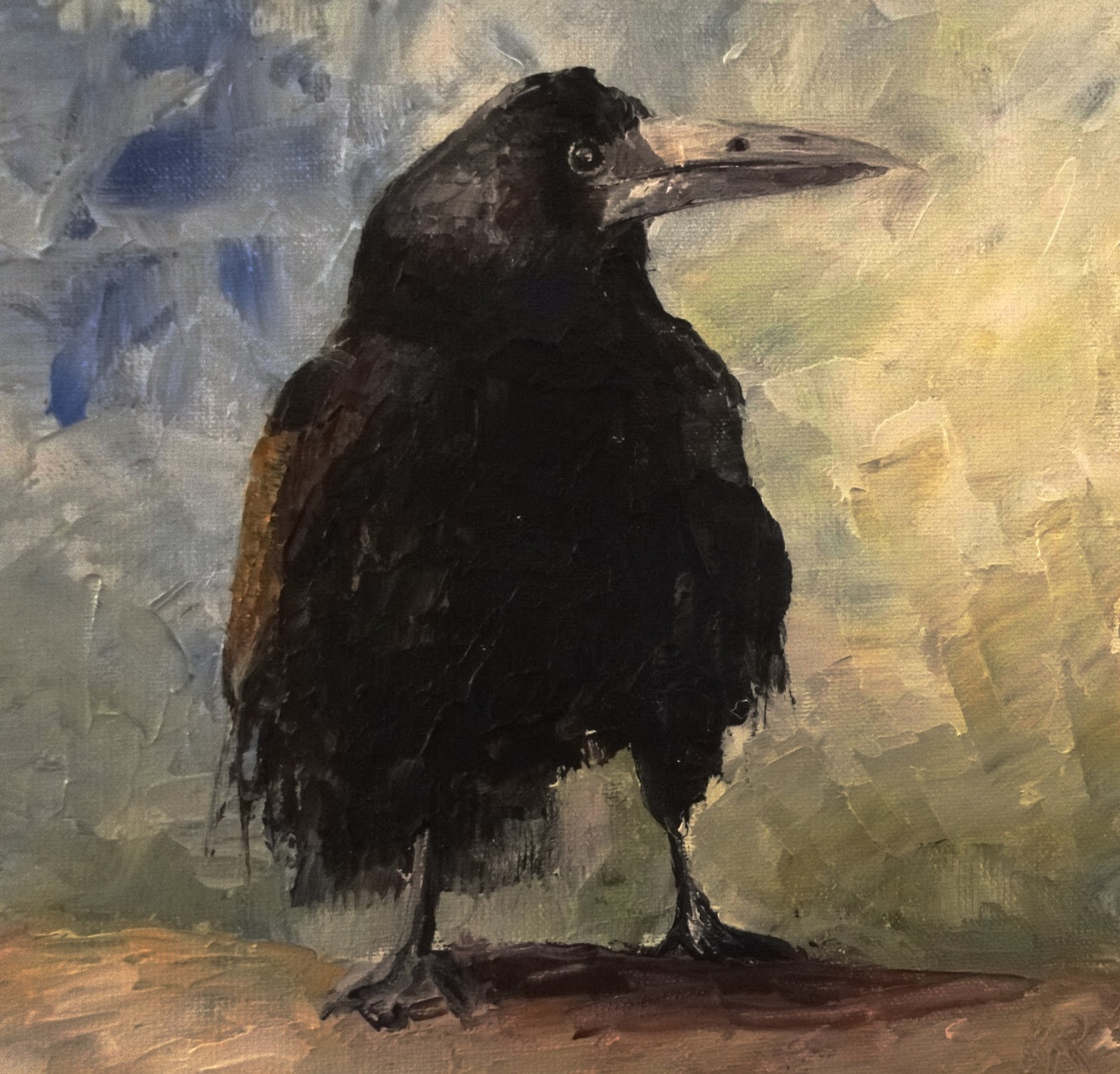 Oil painting with palette knife of a raven, trying to capture the spirit of the bird