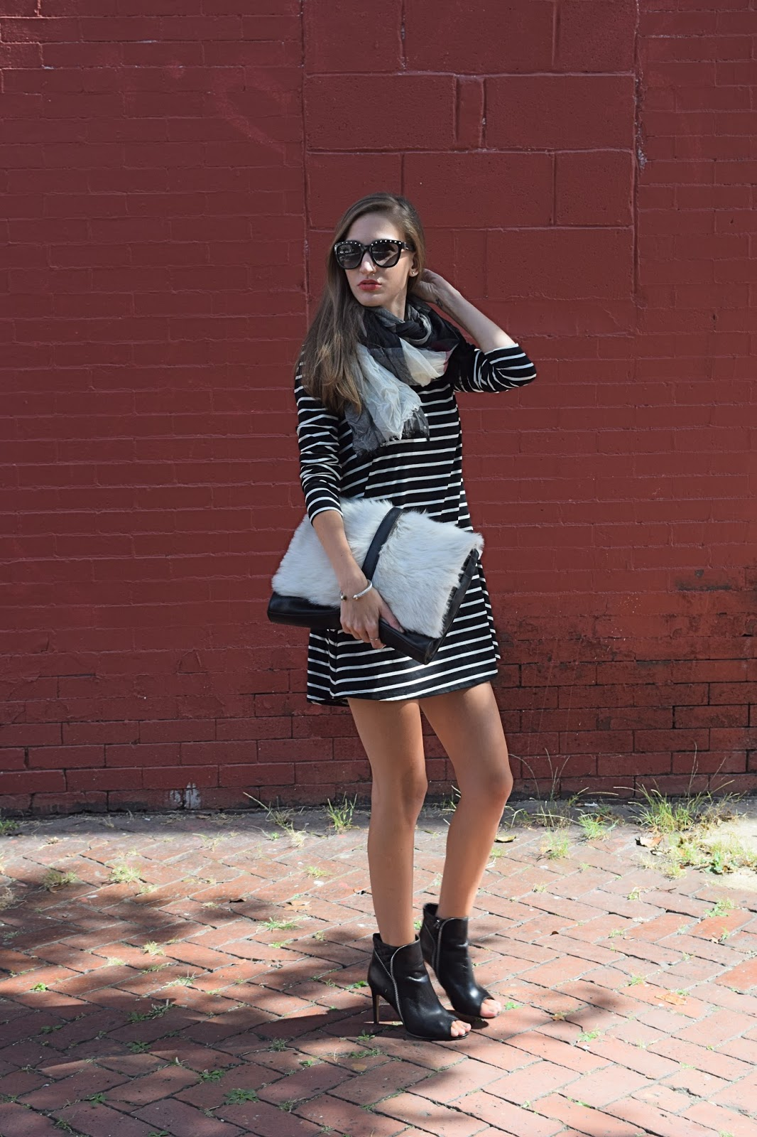 Wearing Target Mossimo Black and White Striped Dress, Little Liffner Furry Clutch, Steve Madden Red Plaid Crinkled Scarf
