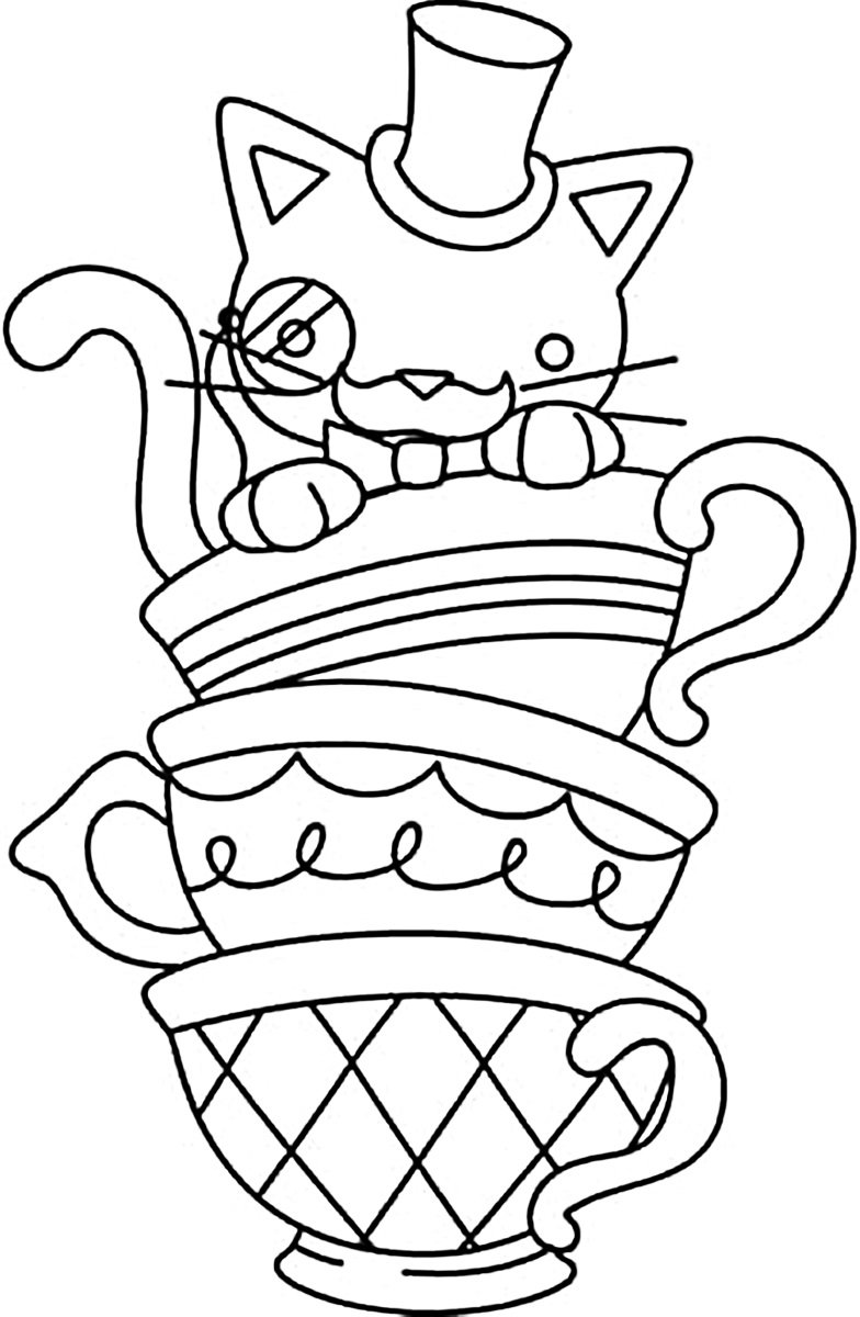 Pig tea party sheet coloring pages for Tea party coloring page