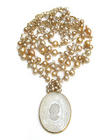 Vintage Cameo Pearl Bridal Necklace by Sophia & Chloe