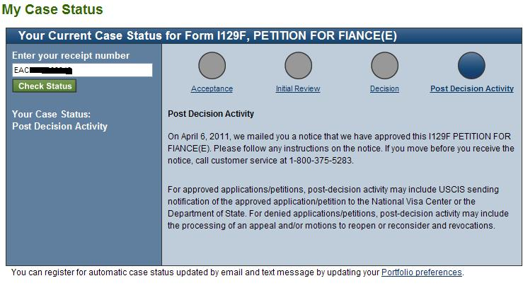 My K1 Fiancee Visa Experience Noa 2 Notice Of Action Form I 797