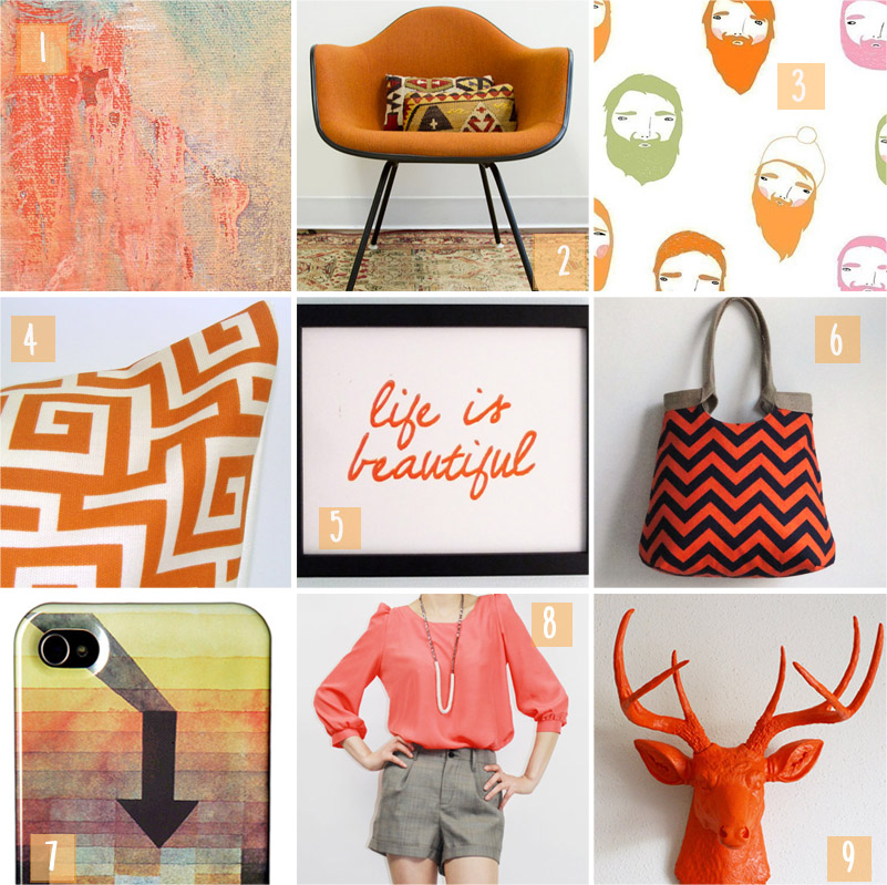 orange, Etsy, Etsy treasury, herman miller, prints, jewelry, chevron, blouse, ipod case