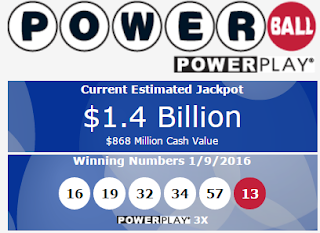 Powerball - Winning Numbers and Next Jackpot - Snapshot on 11 January 2016
