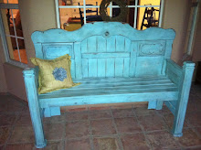 Glazed Ocean Blue Bench ~ SOLD