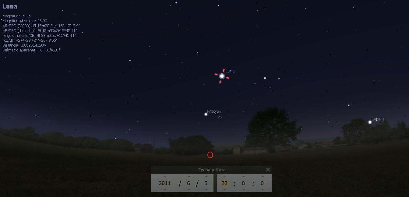 El cielo nocturno del 5 junio 2011