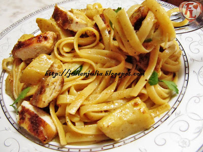 Linguine with Chicken & Artichokes باستا لينجويني بالدجاج والخرشوف (الأرضي شوكي)