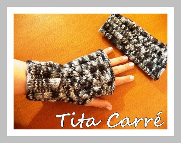Luvas sem dedos Gray em tricot