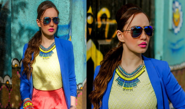 Cobalt Blue Blazer, Yellow Top, Statement Necklace, Ray-ban mirrored sunglasses