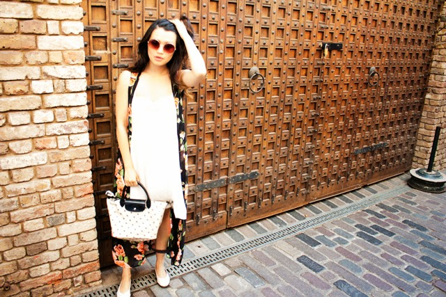 Floral vest, white dress, longchamp bag