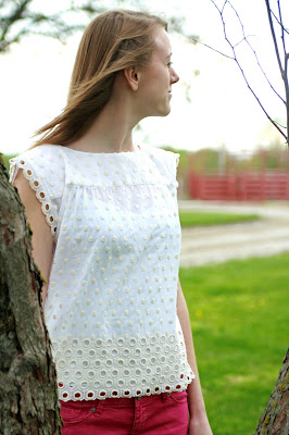 polka dot cotton eyelet top