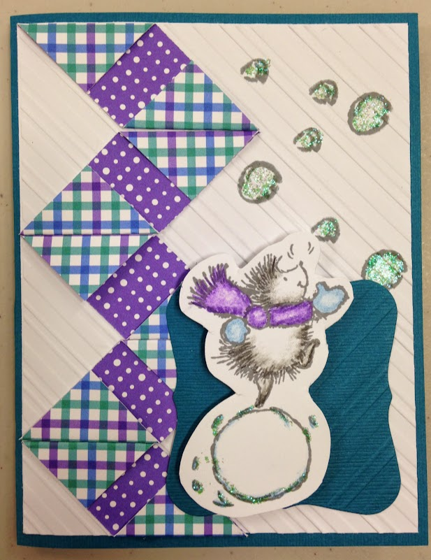 Doodlebug Designs Frosty Friends Card, Penny Black winter play stamp