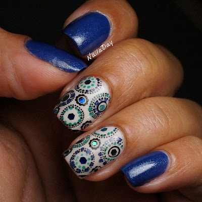 NailaDay: Sinful Colors Neptune with stamping, dots and glitter...oh my!