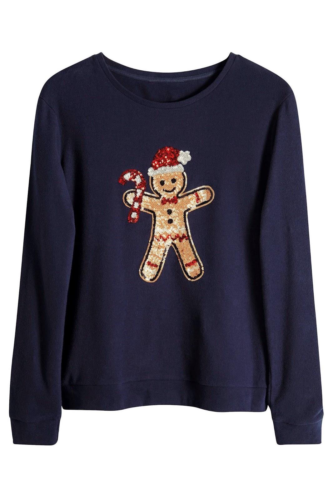 gingerbread jumper, christmas gingerbread ladies jumper, next sequin christmas ladies jumper,