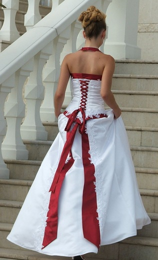 White Wedding Dresses With Red Trim : Elegant bridal style timeless and red white
