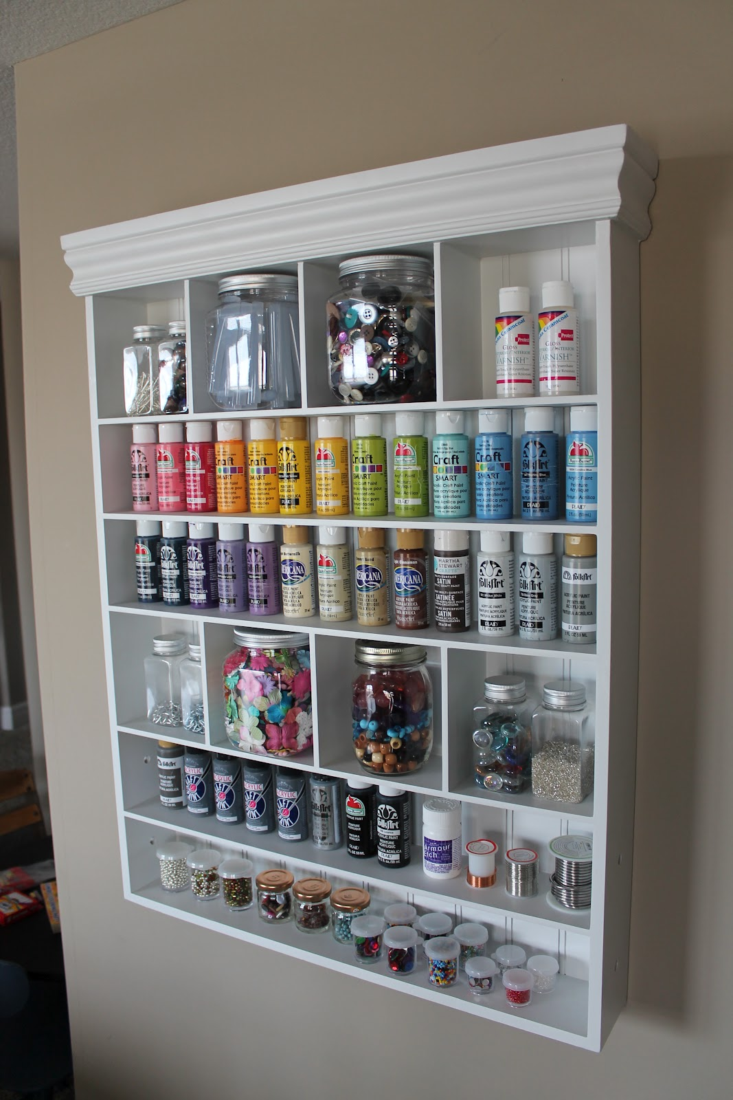 Michaels craft room furniture - Behind My Sewing Table I Hung This Shelf To Hold Paints Beads Buttons And Other Little Things That Fit On There They Sell This Shelf At Michaels