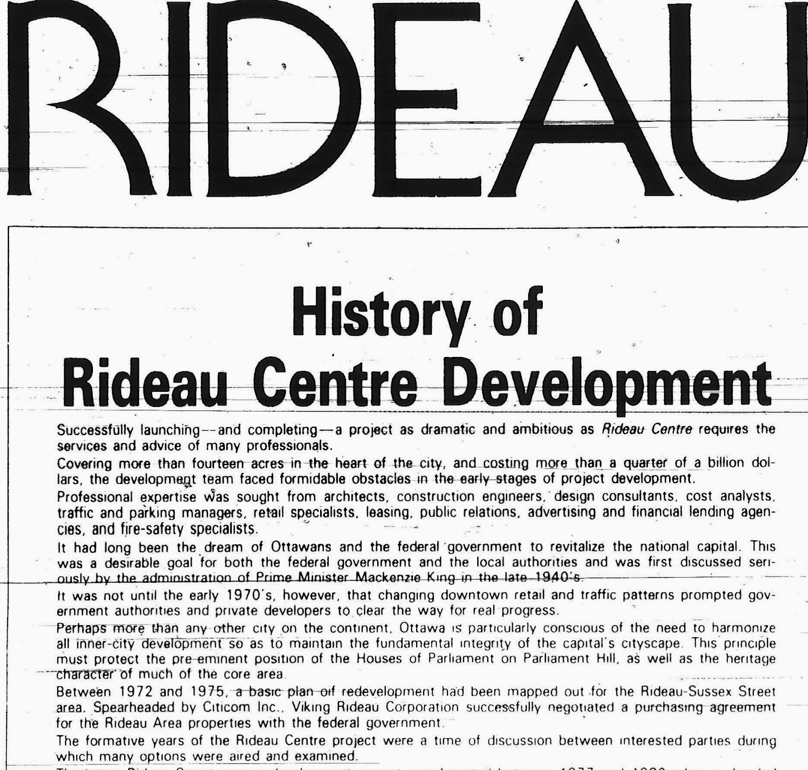 A HISTORY OF THE RIDEAU CENTRE IN NINE CHAPTERS | Urbsite