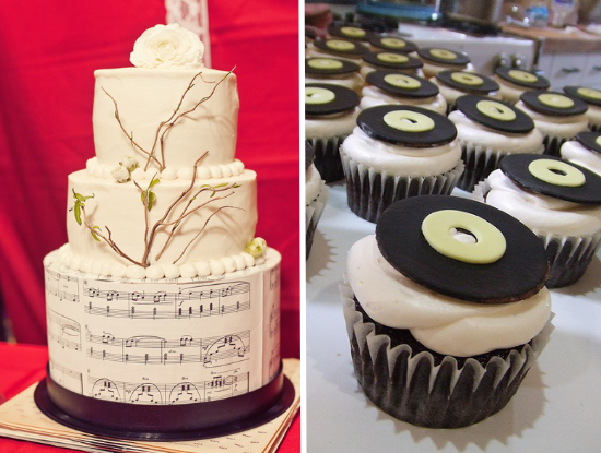 matrimonio tema musica, rock'n'roll wedding cake and cupcakes
