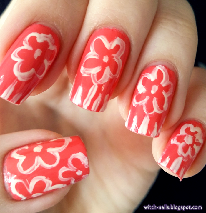 orange flower hawaii nails