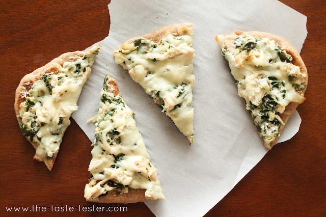 Spinach Artichoke Dip Flatbread Pizza #recipe via The Taste Tester