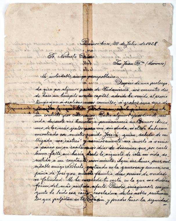 Carta de Agustín Barrios a Norberto Cardozo