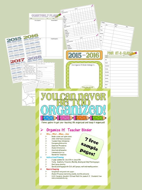 Get your teaching life organized with this free sample from Crockett's Classroom.  It will help you plan, organize student data, student/parent information and track grades, behavior, skills and so much more.