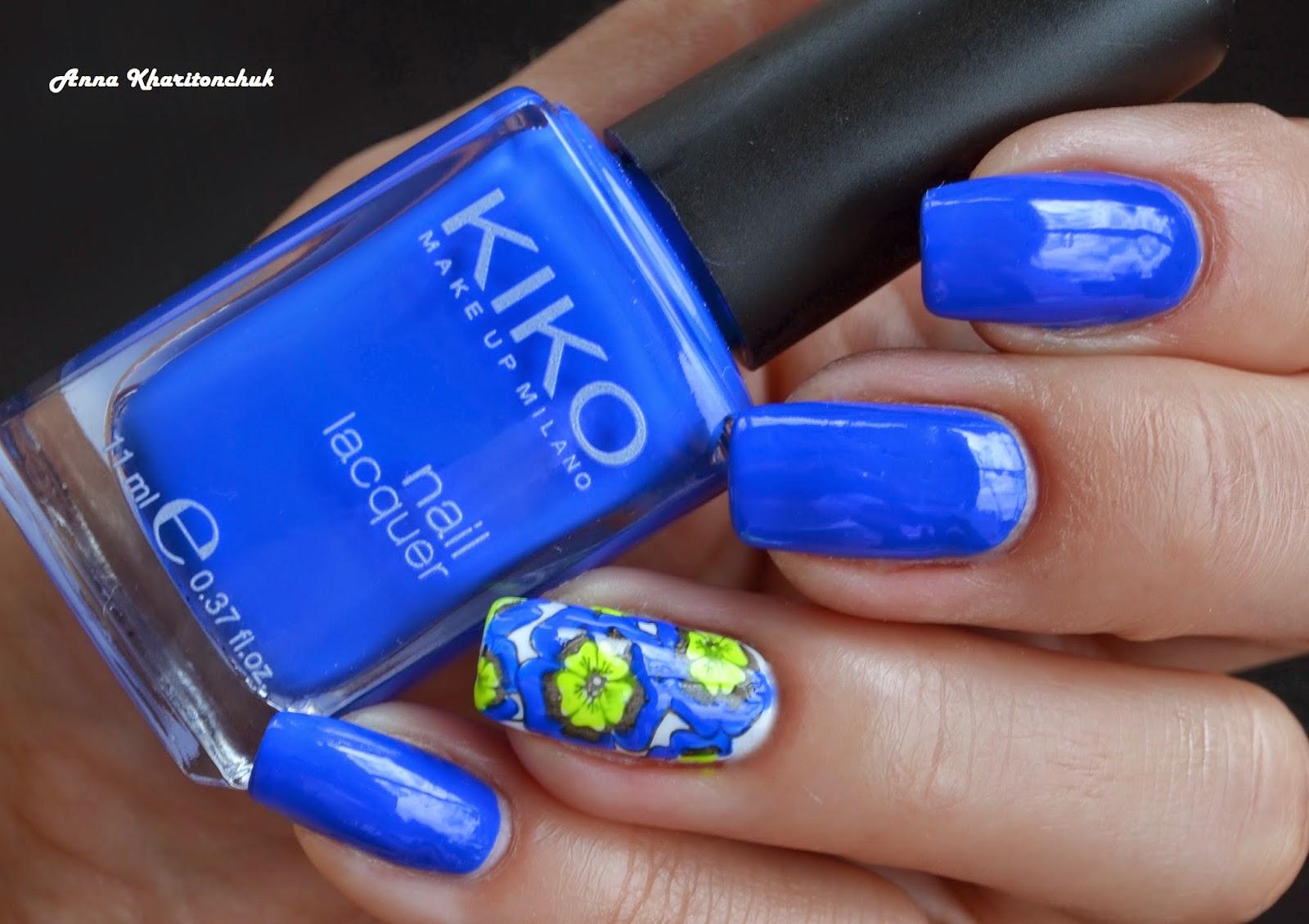 Kiko 336 Electric Blue + стемпинг Lesly