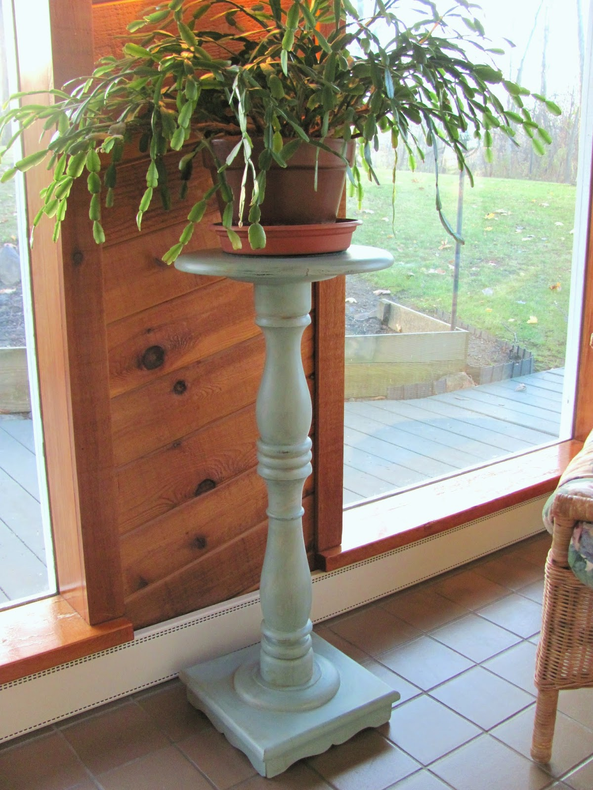 Pedestal Plant Stands ~ My shabby chateau chalk painted pedestal plant stand