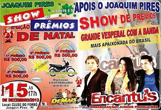 Joaquim Pires Show de prêmios apresenta BANDA ENCANTUS em Joaquim Pires-PI