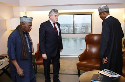 Buhari,Obasanjo and ex British PM Gordon Brown