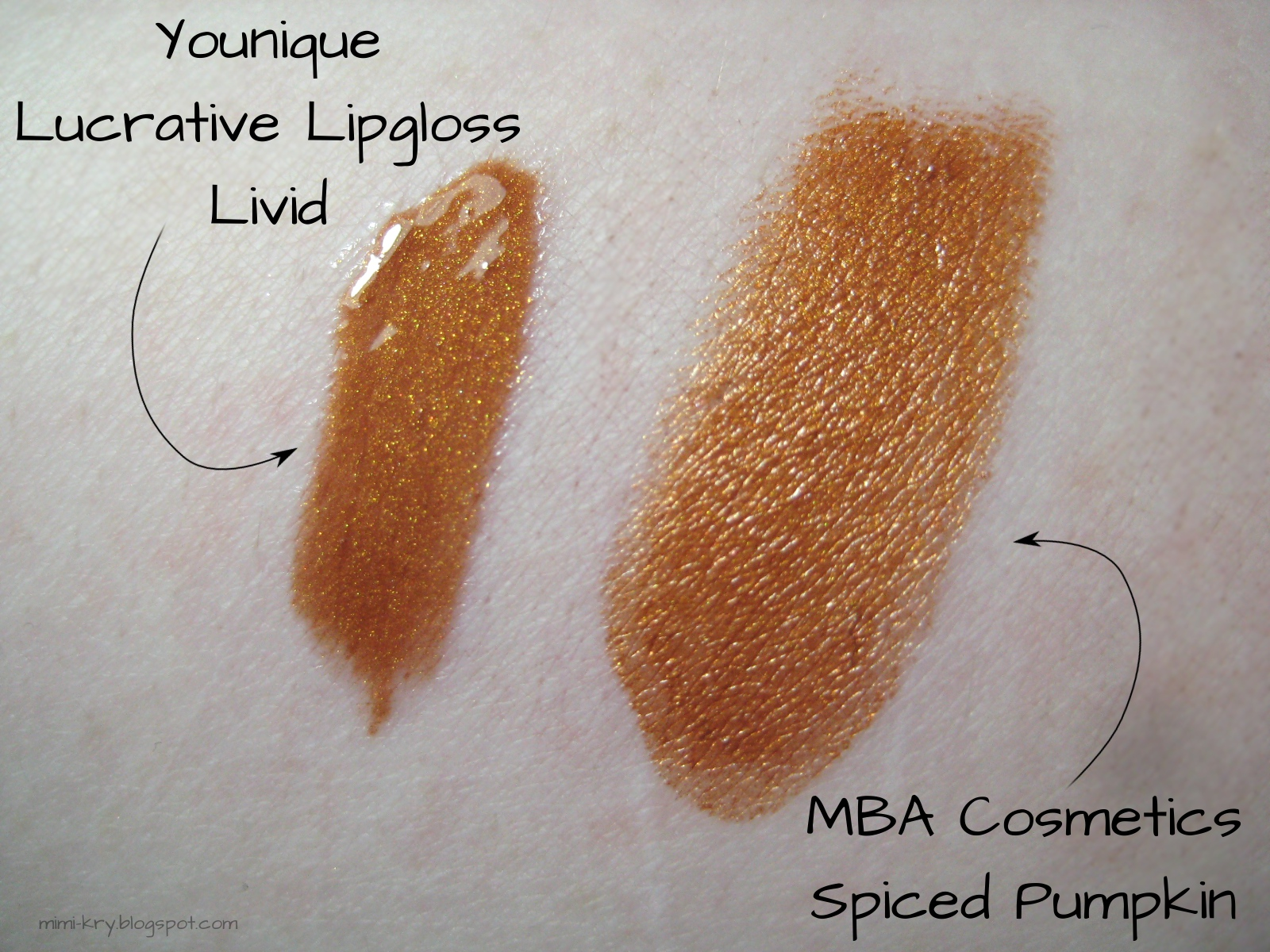"Vergleich Younique Lucrative Lip Gloss ""Livid"" und MBA Cosmetics ""Spiced Pumpkin"""