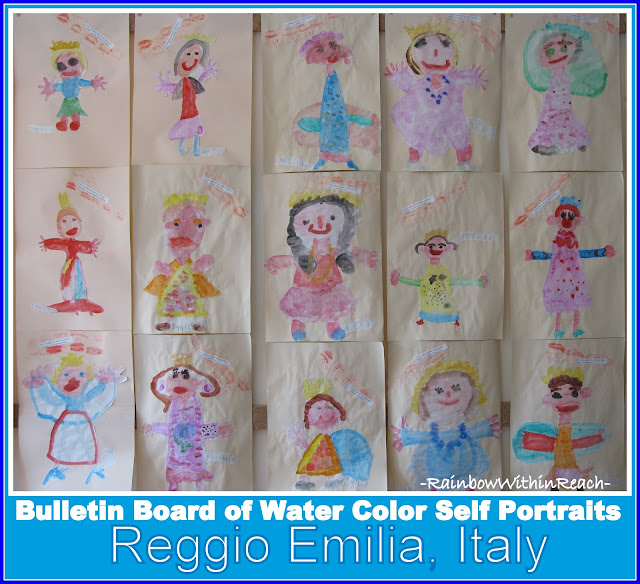 photo of: Bulletin Board of Reggio Emilia Self Portraits (from Bulletin Board RoundUP via RainbowsWithinReach)