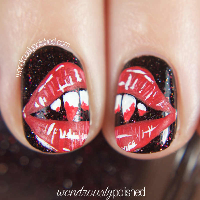... this polish was VAMPIRE since the main character in those novels is a  vampire named Bella! So, naturally, I had to paint a disembodied mouth and  blood ... - Wondrously Polished: The Digital Dozen Does Spooky Days - Day 1