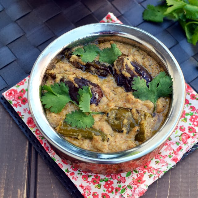 Mirchi Baingan Salan (Hyderabadi Chili-Eggplant Curry in Sesame Peanut gravy)