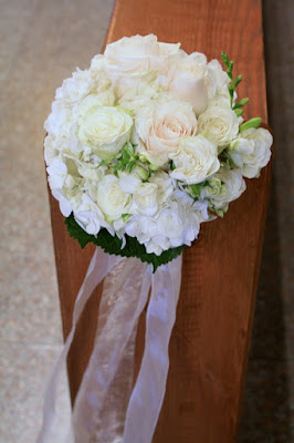 Hydrangea and rose pew markers - Splendid Stems Floral Designs