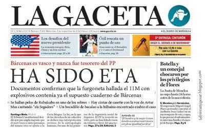 La Gaceta, ETA, Bárcenas, sobres