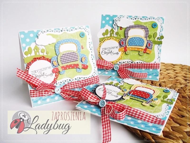 Zaproszenia Na Chrzest Roczek Ladybug Papier I Nożyczki