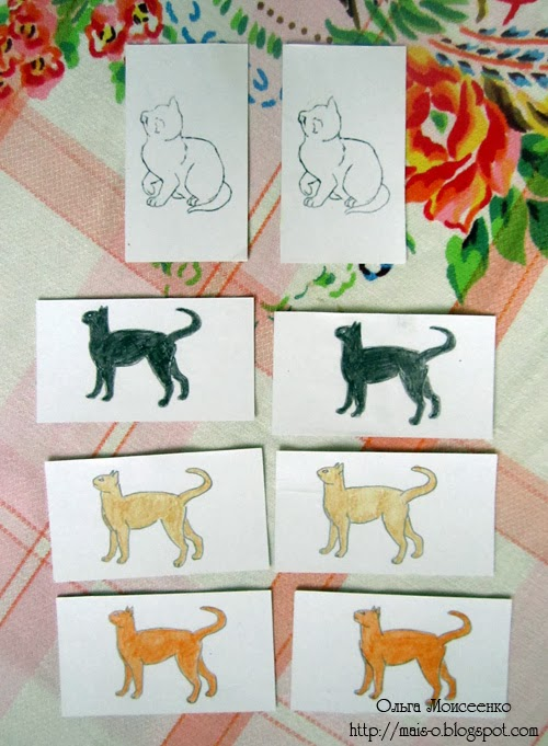 игра для дошколят, найди одинаковых котят, изучаем цвета самодельное пособие, карточки изучаем цвет