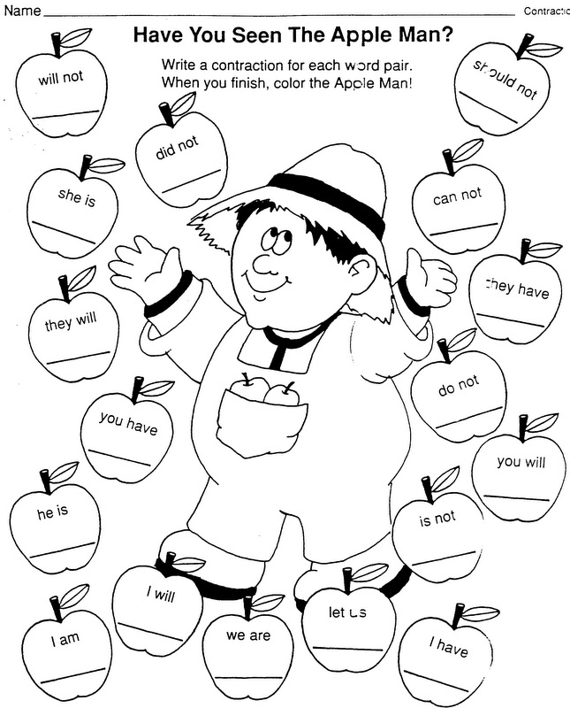 Elementary School Enrichment Activities Johnny Appleseed Language Arts Coloring Pages