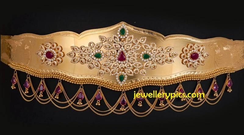 smooth textured gold vaddanam by swarnamahal