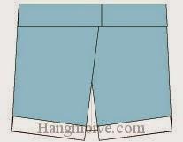 Bước 8: Hoàn thành cách xếp cái, chiếc quần sooc bằng giấy origami