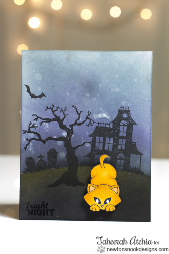 Haunted House Halloween card with Spooky cat eyes by Taheerah Atchia for Newton's Nook Designs | Spooky Street Stamp Set