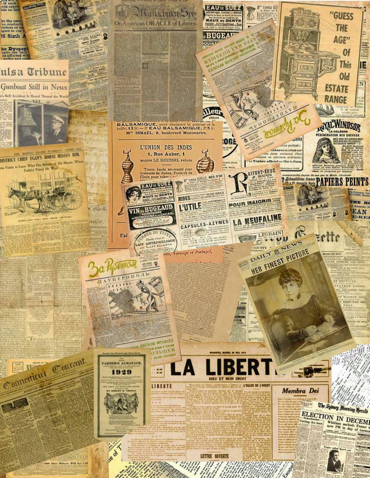 Make mine mini old newspaper collage sheets for your projects for Newspaper wallpaper for sale